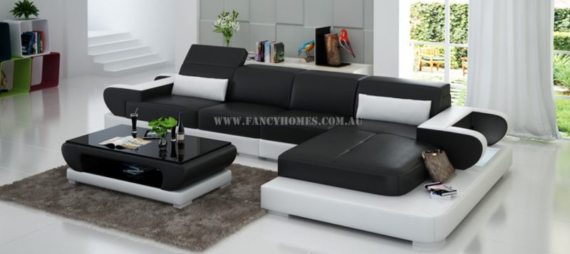 Fancy Homes Teresa-C chaise leather sofa in black and white leather