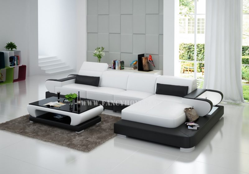Fancy Homes Teresa-C chaise leather sofa is featured with adjustable headrests, curved armrests, open storages and LED lighting system