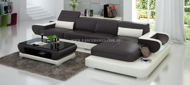 Fancy Homes Teresa-C chaise leather sofa in brown and white leather
