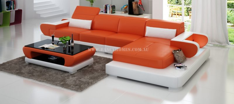 Fancy Homes Teresa-C chaise leather sofa in orange and white leather