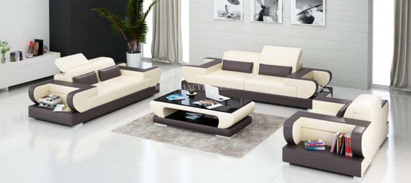 Fancy Homes Teresa-D lounges suites leather sofa in beige and brown leather