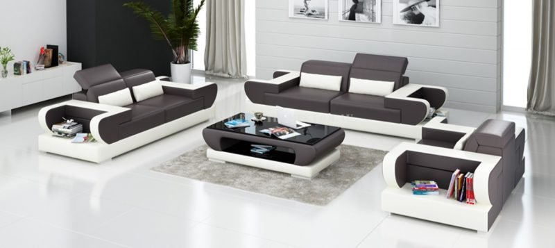 Fancy Homes Teresa-D lounges suites leather sofa in brown and white leather