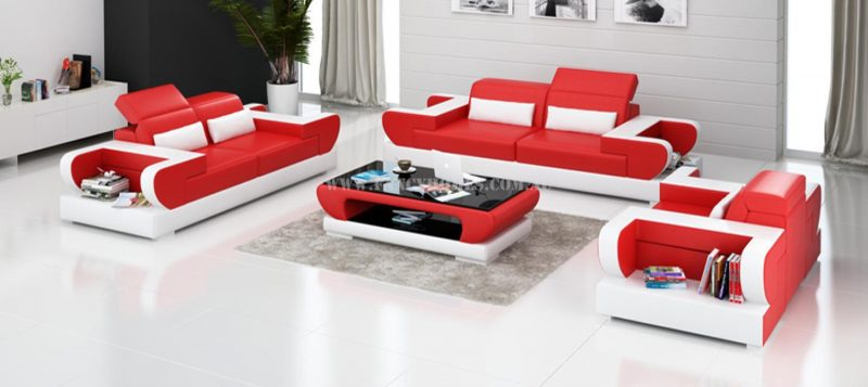 Fancy Homes Teresa-D lounges suites leather sofa in red and white leather