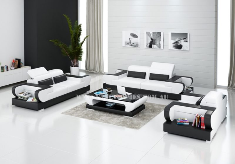 Fancy Homes Teresa-D lounges suites leather sofa is featured with contemporary design, curved armrests with open storages and easy-adjust headrests in white and black leather