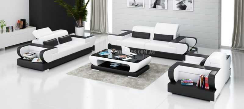 Fancy Homes Teresa-D lounges suites leather sofa in white and black leather