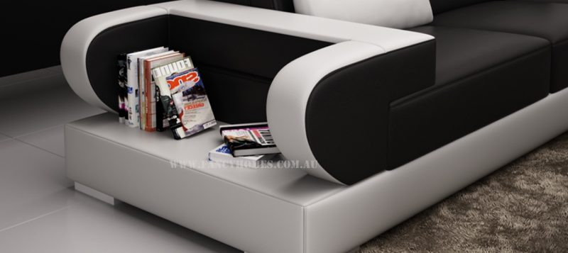 The storage armrests of Fancy Homes Teresa modular leather sofa