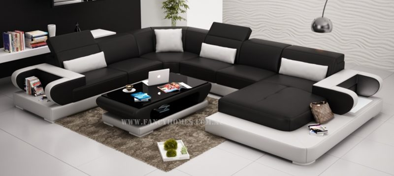 Fancy Homes Teresa modular leather sofa in black and white leather