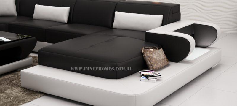 LED lighting of Fancy Homes Teresa modular leather sofa