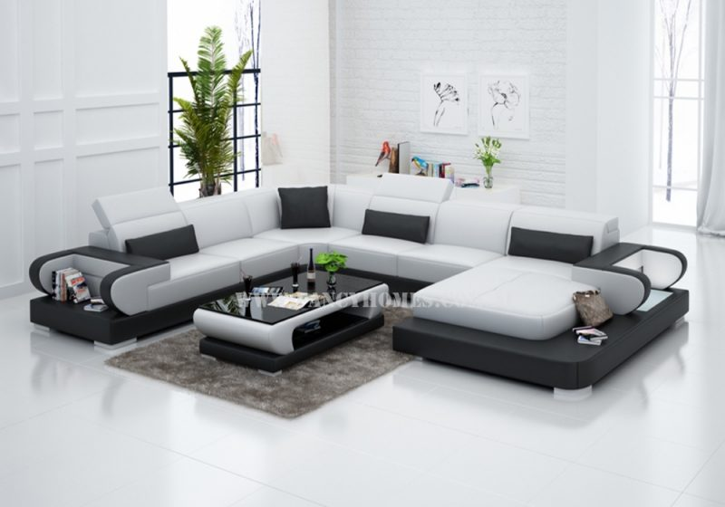 Fancy Homes Teresa modular leather sofa in white and black leather featuring LED lighting system, storage armrests and adjustable headrests