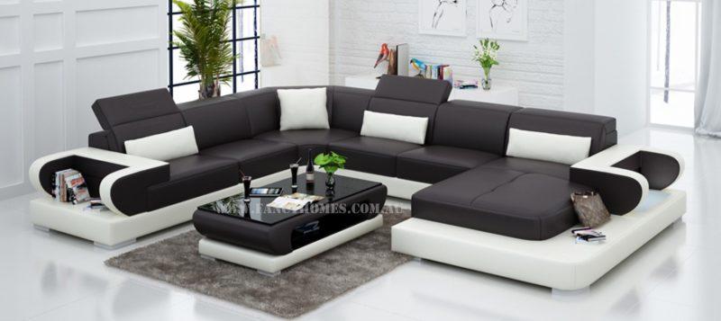 Fancy Homes Teresa modular leather sofa in brown and white leather