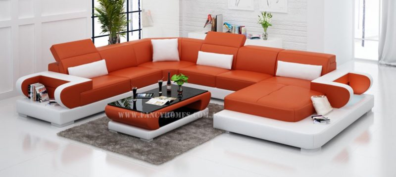 Fancy Homes Teresa modular leather sofa in orange and white leather