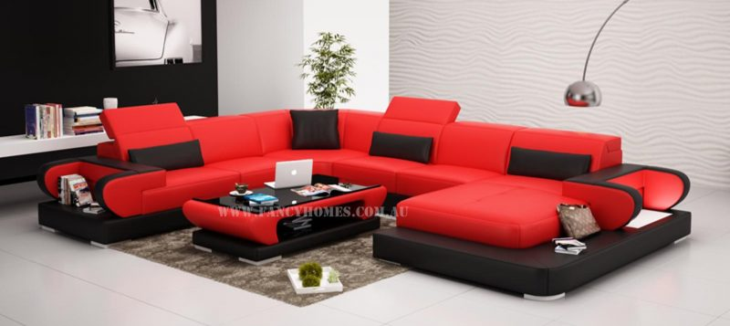 Fancy Homes Teresa modular leather sofa in red and black leather