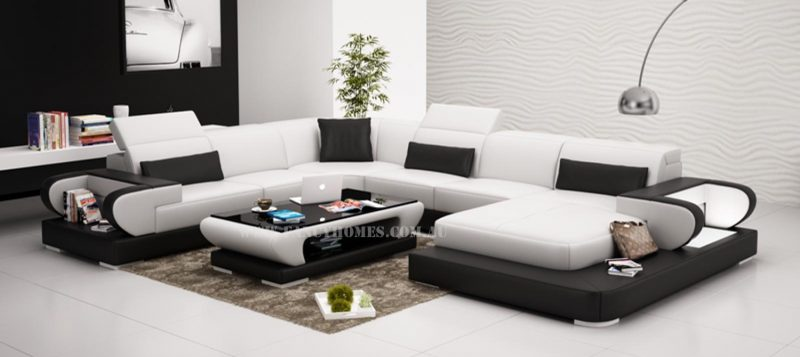 Fancy Homes Teresa modular leather sofa in white and black leather