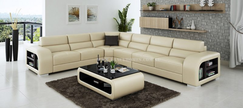 Fancy Homes Teri-B corner leather sofa in beige and brown leather