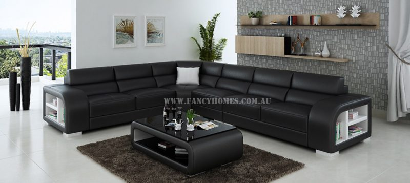 Fancy Homes Teri-B corner leather sofa in black and white leather