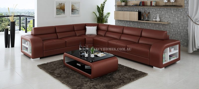 Fancy Homes Teri-B corner leather sofa in maroon and white leather