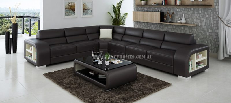 Fancy Homes Teri-B corner leather sofa in brown and white leather
