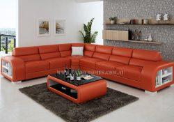 Fancy Homes Teri-B corner leather sofa in orange and white leather