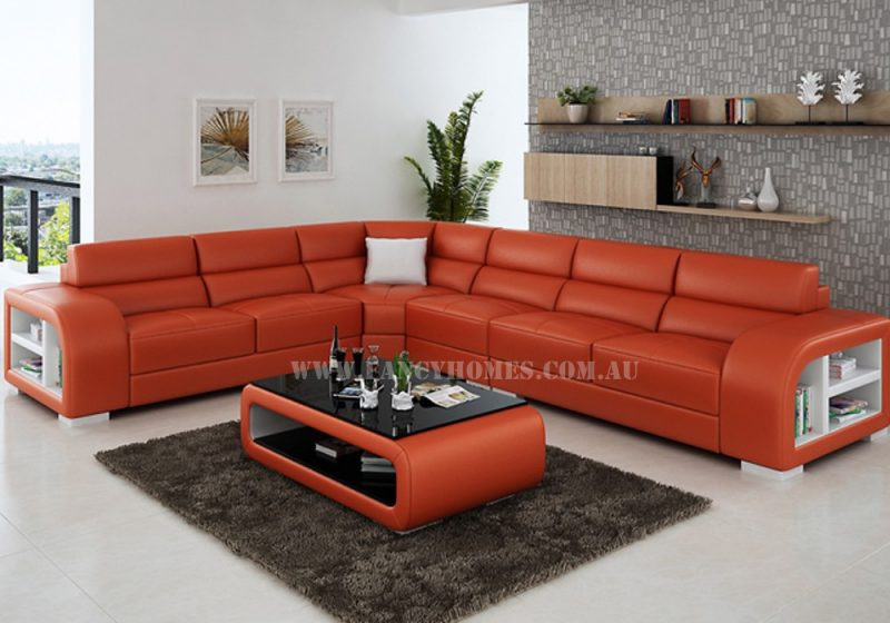 Fancy Homes Teri-B corner leather sofa in orange and white leather