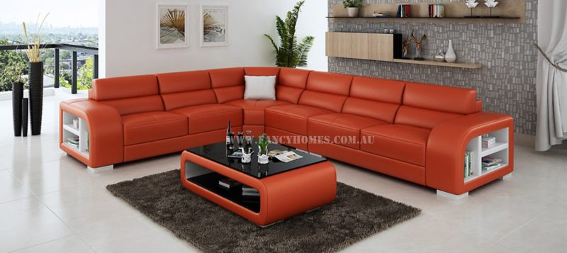 Fancy Homes Teri-B corner leather sofa in orange and white leather featuring storage armrests