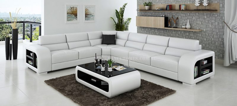 Fancy Homes Teri-B corner leather sofa in white and black leather