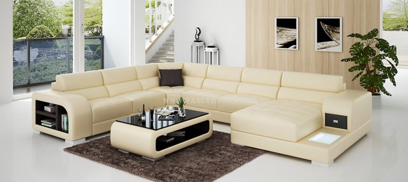 Fancy Homes Teri modular leather sofa in beige and brown leather