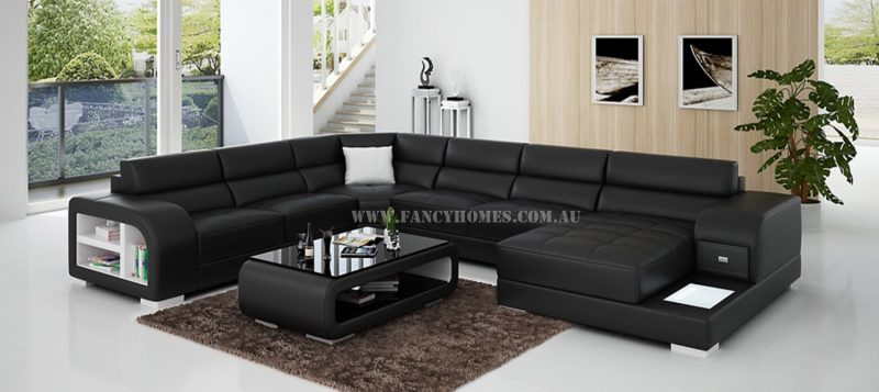 Fancy Homes Teri modular leather sofa in black and white leather