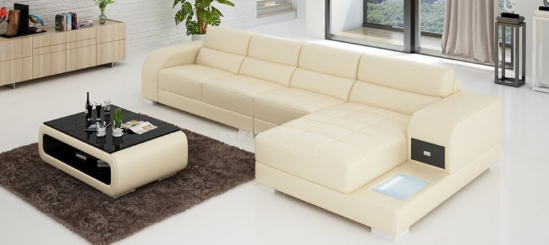 Fancy Homes Teri-C chaise leather sofa in beige and brown leather
