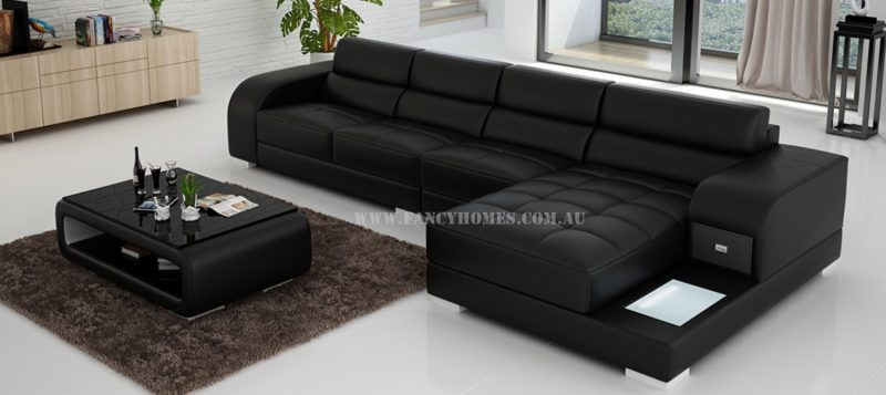Fancy Homes Teri-C chaise leather sofa in black and white leather