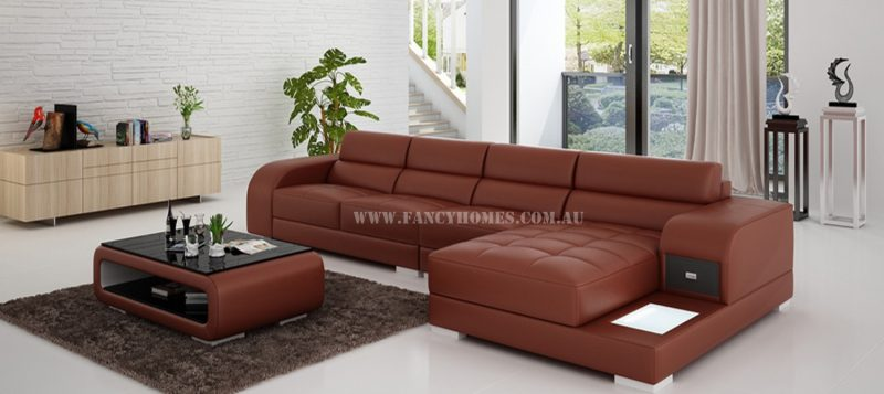 Fancy Homes Teri-C chaise leather sofa in maroon and white