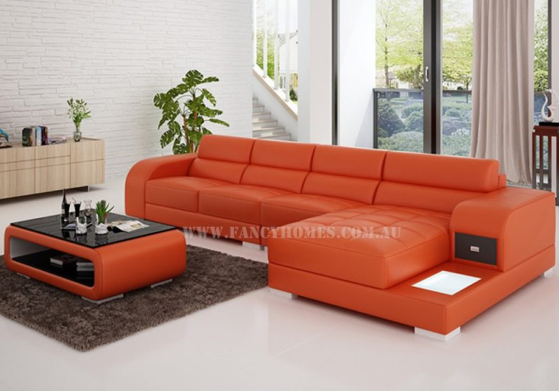 Fancy Homes Teri-C chaise leather sofa in orange and white leather