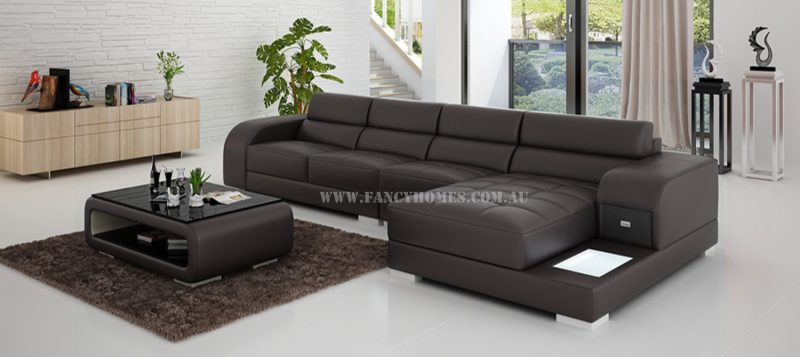 Fancy Homes Teri-C chaise leather sofa in brown and white leather