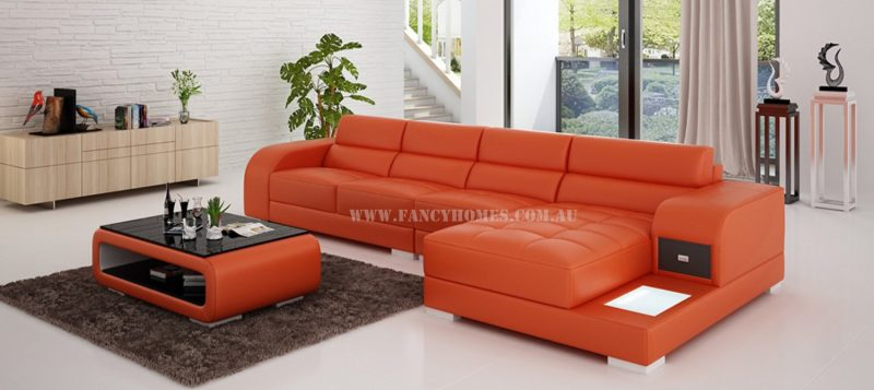 Fancy Homes Teri-C chaise leather sofa in orange and white leather with LED lighting system, storage armrests and draw unit