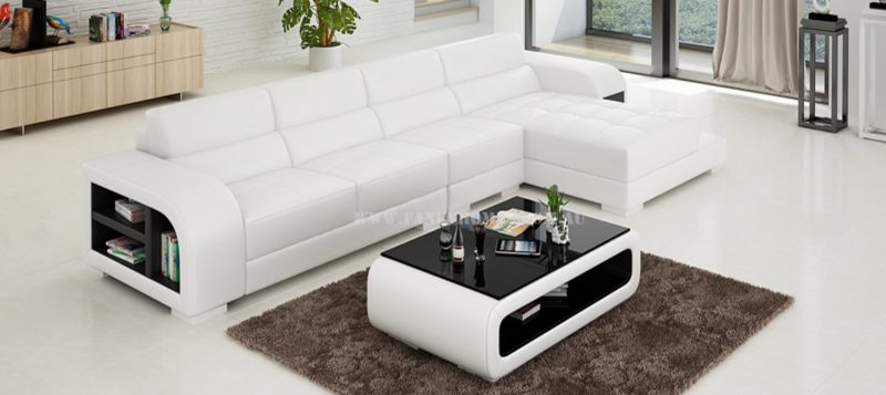 Fancy Homes Teri-C chaise leather sofa in white and black leather