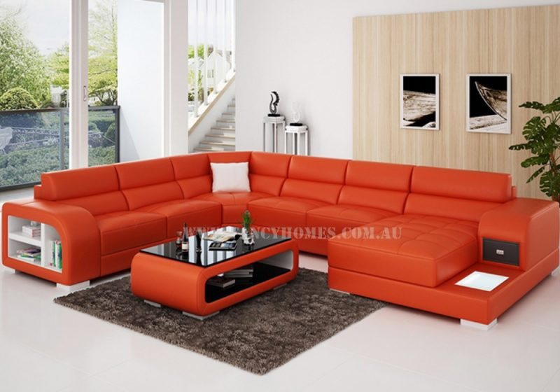 Fancy Homes Teri modular leather sofa in orange and white leather featured with LED lighting system, storage armrests and draw unit