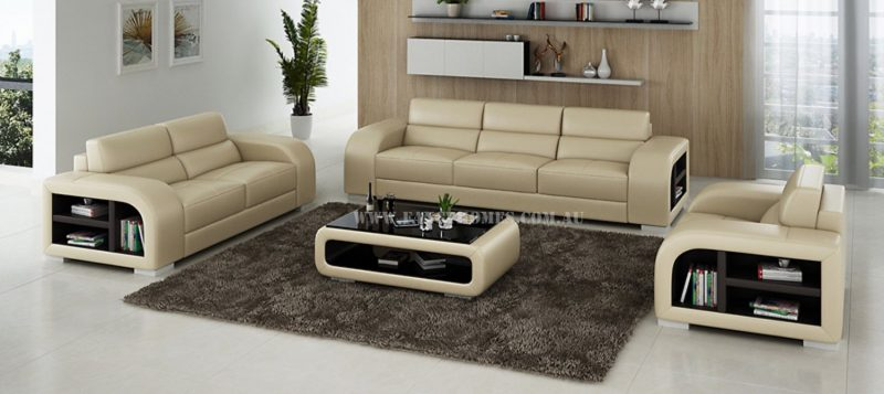 Fancy Homes Teri-D lounges suites leather sofa in beige and brown leather