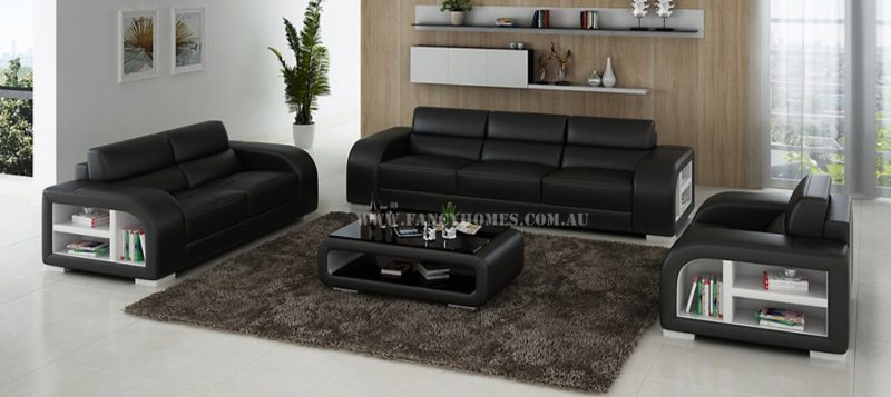 Fancy Homes Teri-D lounges suites leather sofa in black and white leather