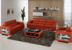 Fancy Homes Teri-D lounges suites leather sofa in orange and white leather featured with storage armrests