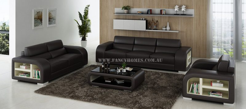 Fancy Homes Teri-D lounges suites leather sofa in brown and white leather