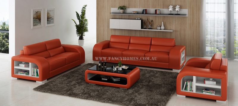 Fancy Homes Teri-D lounges suites leather sofa in orange and white leather