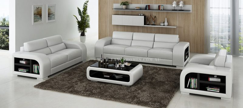 Fancy Homes Teri-D lounges suites leather sofa in white and black leather