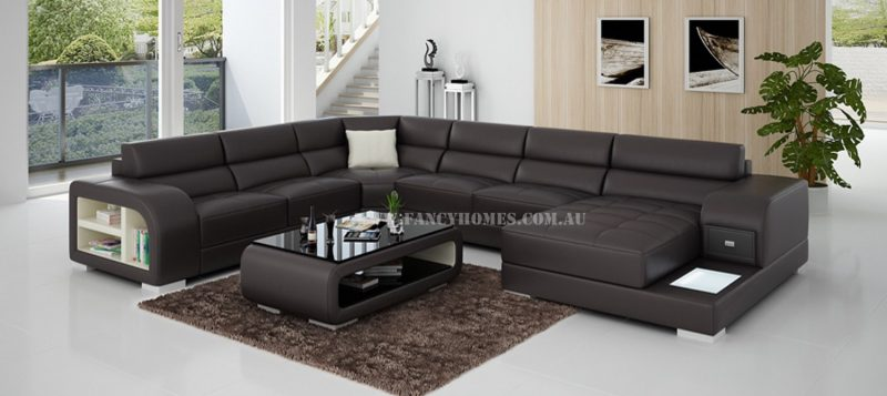 Fancy Homes Teri modular leather sofa in brown and white leather