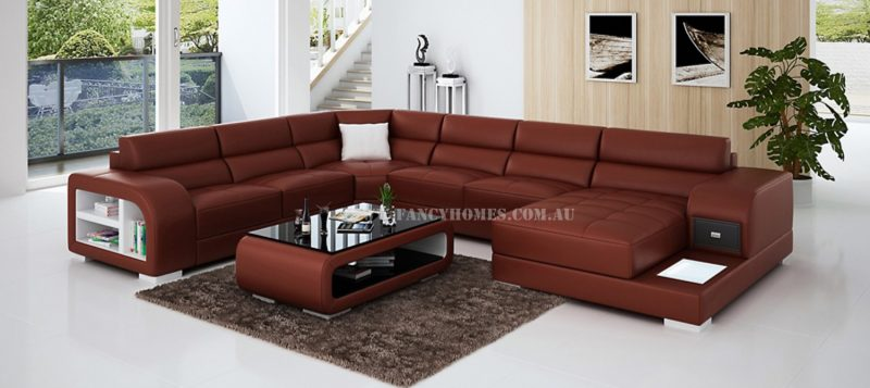Fancy Homes Teri modular leather sofa in maroon and white leather