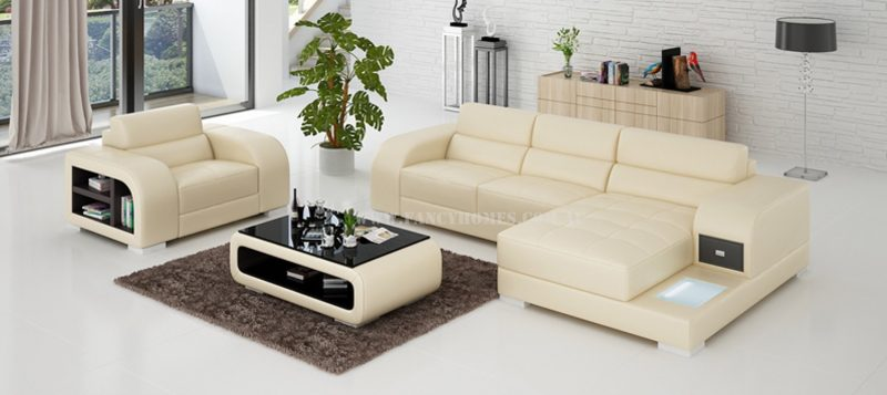 Fancy Homes Teri-E chaise leather sofa with a single seater in beige and brown leather