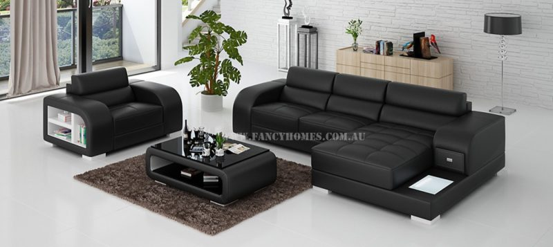 Fancy Homes Teri-E chaise leather sofa with a single seater in black and white leather