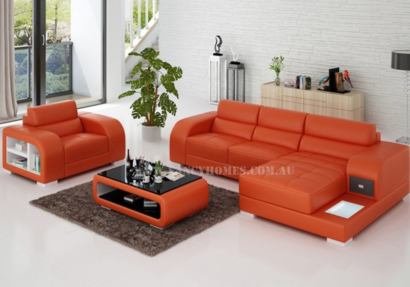 Fancy Homes Teri-E chaise leather sofa with a single seater in orange and white leather with LED lighting system, storage armrests and draw unit