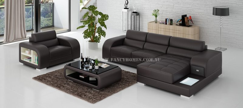 Fancy Homes Teri-E chaise leather sofa with a single seater in brown and white leather