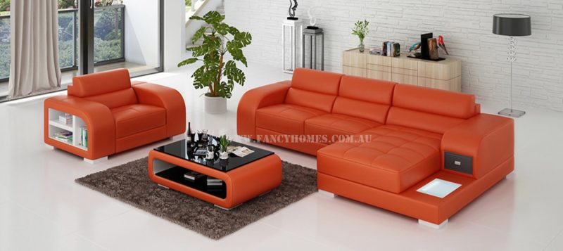 Fancy Homes Teri-E chaise leather sofa with a single seater in orange and white leather