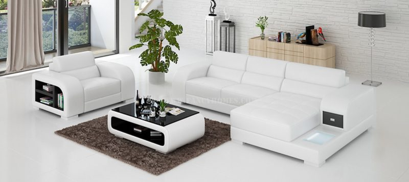 Fancy Homes Teri-E chaise leather sofa with a single seater in white and black leather
