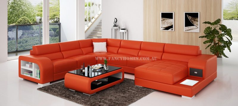 Fancy Homes Teri modular leather sofa in orange and white leather